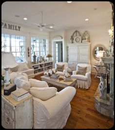 "Living Room - Shabby Chic- ""Total Perfection"" - I would live in this house in a Heart Beat! Cottage Living Rooms, Shabby Chic Living Room, Shabby Chic Cottage, Shabby Chic Homes, My Living Room, Shabby Chic Furniture, White Furniture, Cottage Style, Style At Home"
