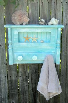 Beach-y Bathroom Shelf And Towel Hanger, Cottage Kitchen Spice Rack And Display, Coastal Living Decor, Coat Rack. $65.00, via Etsy.