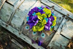 Beautiful and Unexpected Color Combo for a Wedding Bouquet! I've always loved deep purple with bright turquoise, but that added touch of lime green really gives it a pop!