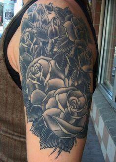 3d roses arm sleeve tattoo