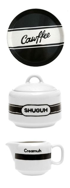 New York Accent Coffee Set // Cawffee... Shuguh... Creamuh... hilarious! #product_design