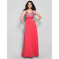 Sheath/Column V-neck Floor-length Beading Chiffon Evening/Prom Dress – USD $ 117.99