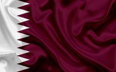 Indir duvar kağıdı Katar katar bayrağı Katar, Orta Doğu, bayrak, ipek bayrak
