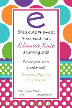 polka dot party birthday invitation custom polka dot party