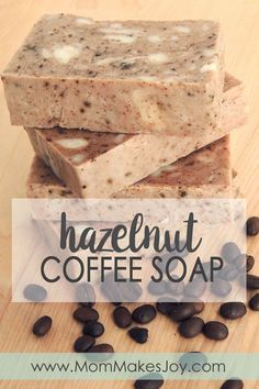 Have you made soap without lye before? This cinnamon hazelnut coffee soap is made with rebatch soap base, cinnamon, and ground hazelnut coffee beans.   Soap Making   DIY Bath and Body   How to make soap without lye   Mom Makes Joy
