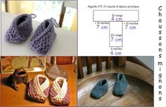 ~inspiration- easy to crochet this shape~ chaussons_mignons_pruline Diy Tricot Crochet, Crochet Hats, Cute Little Baby, Baby Kind, How To Purl Knit, Bitty Baby, Crochet Baby Booties, Knitting Projects, Baby Knitting
