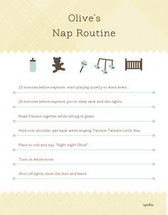 Awesome nap routine printable for babysitter. #babysleeptips