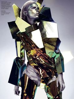 Gold Digger Dazed and Confused Japan Photography Anthony Maule Styling Robbie Spencer Model Andrej Pejic Source The Fashionisto Related. Mega Fashion, Foto Fashion, Weird Fashion, Fashion Art, Editorial Fashion, Fashion Design, Unique Fashion, Space Fashion, Magazine Editorial