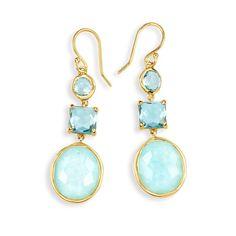 Ippolita Rock Candy® 18K Gold 3-Stone Drop Earrings-Blue Topaz, Clear Quartz, Peruvian Amazonite, Swiss Blue Topaz