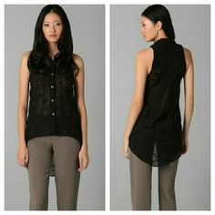"""Helmut Lang Sheer Sleeveless Blouse Hi-lo Perfect condition but doesn't fit me. Wool/silk blend. Armpit to armpit flat across is 17"""". Waist is 18.5"""". Length in front 26.5"""". Length in back 36"""". Button front closure. Helmut Lang Tops Blouses"""