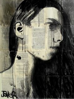 "Saatchi Online Artist Loui Jover; Drawing, ""girl with a bunny tattoo"" #art"