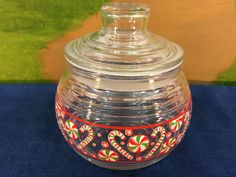 Vintage KIG Indonesia Christmas Candy Jar With Sealing Air Tight Lid Clear Glass Designed With Christmas Candy by AdoptAKeepsake on Etsy