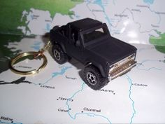 CUSTOM MINT KEYCHAIN 1972 FORD BRONCO,FLAT BLACK W/CHROME GRILL-BUMPERS-MAGS