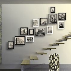 Photo Frame Luxury Staircase Photo Wall Creative Picture Frame For Home Wood Photo Frame Porta Retrato Home Staircase Decoartion Staircase Frames, Staircase Pictures, Hallway Pictures, Staircase Wall Decor, Stair Walls, Picture Wall Staircase, Stair Art, Hang Pictures, Wall Photos