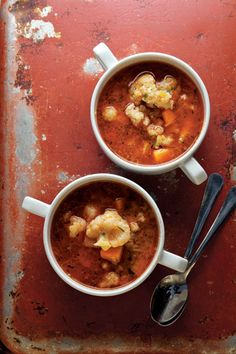 This Hungarian soup is loaded with spaetzle-like dumplings, cauliflower, and a brick-red paprika spiced broth.