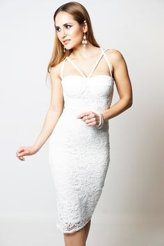 90ccd5d2c50d0 Aliza Cream Lace Overlay Padded Bust Open Criss Cross Back Bodycon Dress  Lace Overlay