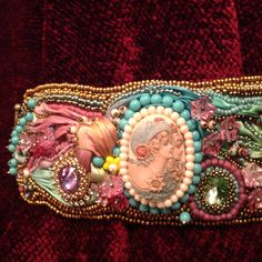 """Shibori ribbon and bead embroidered cuff bracelet....""""Sister's of the Heart"""""""