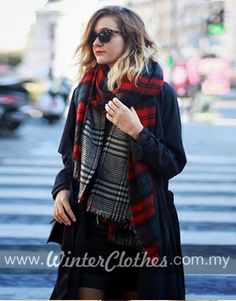 Double-sided Use Shawl Plaid Scarf Cozy Scarf, Plaid Scarf, Plaid Design, Winter Outfits Women, Red Plaid, Tartan, Winter Wear, Winter Hats, Red And Grey