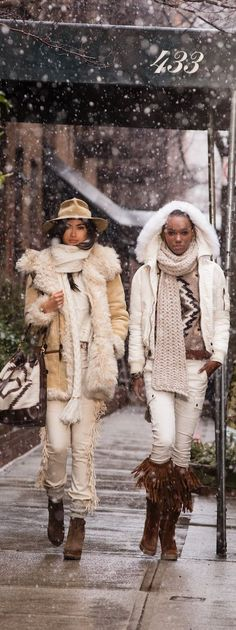 Cold-Weather Chic: Take cover in cream winter looks, sumptuous shearling coats and outerwear from Polo Ralph Lauren.