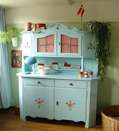 Ahhh... Blue Cupboard and Red Gingham