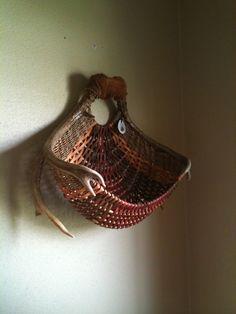 custom made wall basket in rust and earthtones~by eileen meisner of pine lake baskets, wisconsin