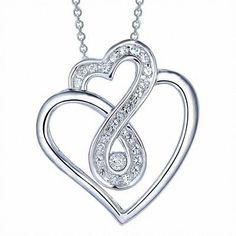 Zales White Topaz Double Heart Infinity Loop Pendant in Sterling Silver