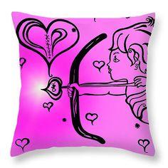 "Happy Valentine's Day Cupid 2 Throw Pillow 14"" x 14"""