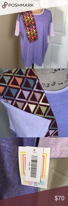 NWT LuLaRoe Outfit Irma Tee and Leggings New with tags! Super soft LuLaRoe Irma high low style long tunic tee in size small with cute geometric retro print leggings in One Size (fits 2-10). Irma fits true to size for a loose look or go down a size or two for more form fitting look. Leggings are a warm brown with soft muted greens, blue, cream and purple. LuLaRoe Pants Leggings