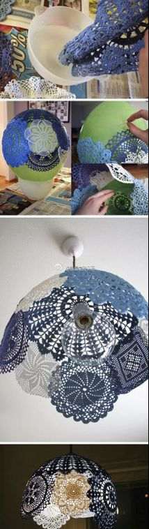 inspiration - using crochet motifs to create a domed lamp shade