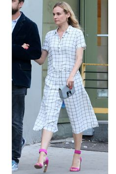 14 work attire to wear this summer: Diane Kruger in a checkered printed two piece culotte set