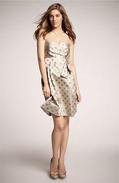 Eliza J Embellished Metallic Satin Strapless Bridesmaid Dress #wedding
