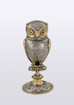 Parcel-gilt screech owl goblet by Jakob Christoph Mentzinger -Basle, Switzerland, c1600