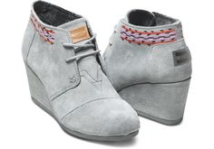Oooh, but these are also gorgeous...Grey Embroidered Women's Desert Wedges | TOMS