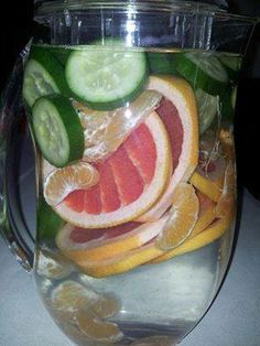 If you can't have grapefruit, use lemon. If you can't find Tangerine, use an Orange.Ingredients per Pitcher Water 1 whole sliced grapefruit or lemon 1 tangerine or orange ½ cucumber, sliced 2 peppermint leaves or a small handful of any mint Ice – as much as you like https://www.facebook.com/groups/marlenesfriends/ https://www.facebook.com/gethealthy58