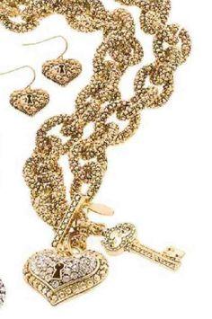 Love Big Necklace & Earring set. Now available in gold. www.tracilynnjewelry.net/reneemaxim