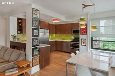 Mid-century modern apartment in Clinton Hill with gorgeous walnut custom cabinet system.