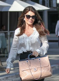 Weapon of choice: The reality star lugged a huge quilted Chanel handbag as she left Villa Blanca Lisa Vanderpump, Housewives Of Beverly Hills, Beauty Advice, British Actresses, Real Housewives, White Shirts, Boss Lady, Her Style, Bell Sleeve Top
