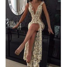 Deep V Neck Side Split Seen Through Lace Long Sexy Prom Dresses, PM0054