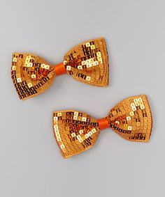 Take a look at this Orange Sequin Bow Clip Set by Bourbon Street Boutique on #zulily today!