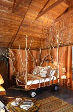 """rustic """"four poster"""" bed"""