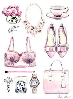 Make Me Blush Pink Collage Romantic Sweet by LauraRowStudio