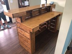 The Hello Elyse Chesnut Pallet style 2 level Rustic - Diy Home Bar, Bars For Home, Rustic Barn, Barn Wood, Outdoor Tiki Bar, Boutique Design, Shop Interiors, Cabin Homes, Rustic Design