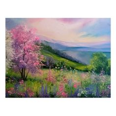 Beautiful Landscape Paintings, Scenery Paintings, Mountain Paintings, Watercolor Landscape, Landscape Art, Watercolor Art, Most Beautiful Paintings, Spring Painting, Spring Art