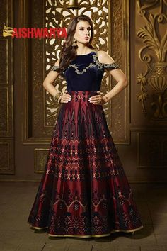 Our latest collection of incredible designer #anarkali suits has to be seen to believe it! Buy Suit online - http://www.aishwaryadesignstudio.com/blue-maroon-glossy-designer-dress