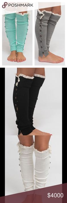 LEG WARMERS WITH BUTTONS & LACE Pretty Leg Warmers featuring side buttons & pretty lace. Great worn as is or with boots for a layered look. Price is firm unless bundled.  One Size Fits Most.  Colors Available:  ⏺Black ⏺Charcoal  ⏺Cream  ⏺Grey  ⏺Mint  ⏺Mocha  ⏺Oatmeal Southern Charm Boutique Accessories Hosiery & Socks
