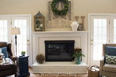 Fireplace mantel and hearth decor