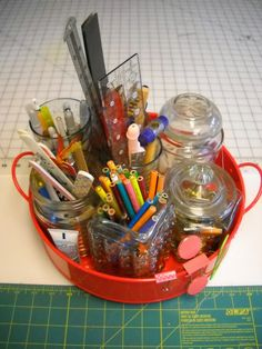 """""""Val's Quilting Studio: Sunday Organizing: Counter Tool Storage"""" I might do this for my sewing room. I have a cool, rusty, flat-bottomed colander-thing I could use..."""