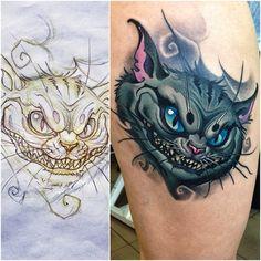 Cheshire Cat tattoo from Alice madness returns Dope Tattoos, Hot Guys Tattoos, Baby Tattoos, Disney Tattoos, Dark Disney Tattoo, Cheshire Cat Tattoo, Chesire Cat, Alien Tattoo, Evil Skull Tattoo