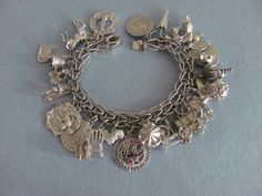 Vtg STERLING SILVER CHARM BRACELET 28 CHARMS Hen Eggs Horse 76 g LOADED 7.5  EX!