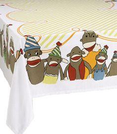 """Sock Monkey Party Cotton Tablecloth. 52"""" X 65"""". $34.00"""